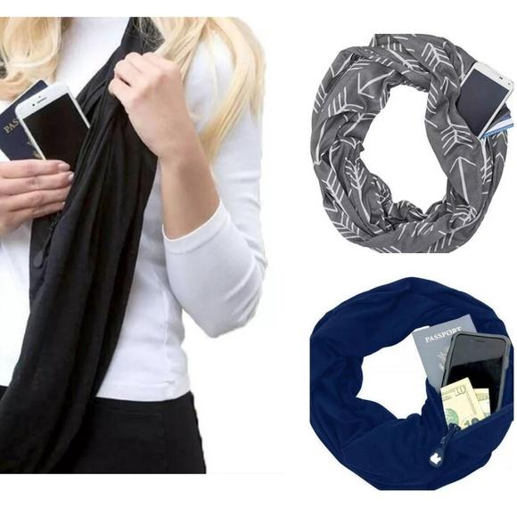 Accessories - Infinity scarves with hidden zipper pocket